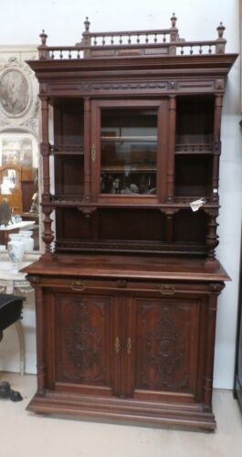 """Antique French Double Buffet Cabinet 1880's Removable Rail H 103""""x W 53"""" Knights"""