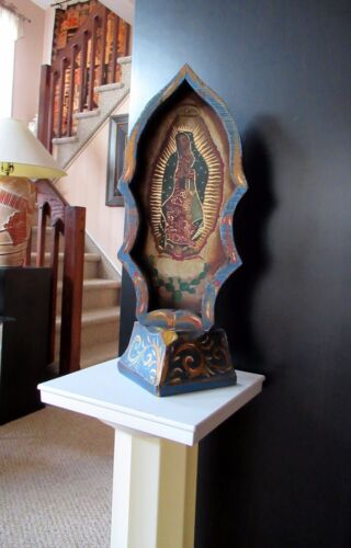 "HTF MEXICAN ANTIQUE 17"" TALL HP RETABLO ON WOOD VIRGEN DE GUADALUPE; SIGNED"