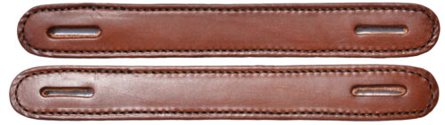 Lot of 2 Brown Leather double and stitched Slotted Steamer trunk handles #100brn