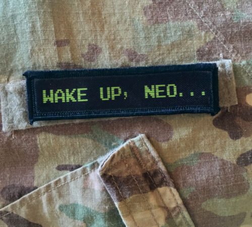 1x4 Wake Up Neo The Matrix Movie Morale Patch Tactical Military USA Hook  ArmyArmy - 48824