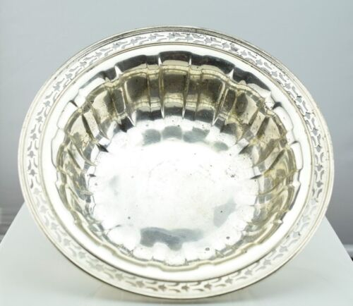 """Wallace Sterling Silver Reticulated Edge Fluted Centerpiece Bowl 10""""  C1570"""
