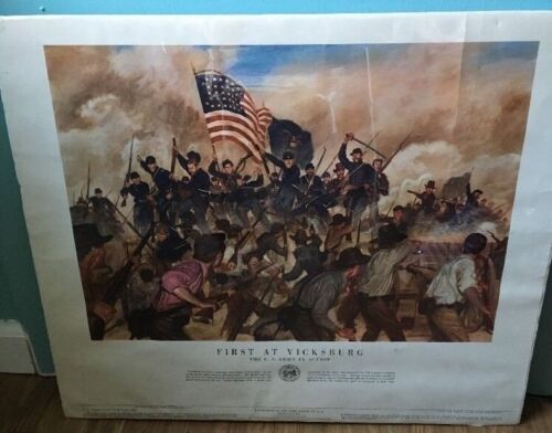 """Vintage """"First At Vicksburg"""" Dept. of the Army Poster No. 21-41Other Militaria - 135"""