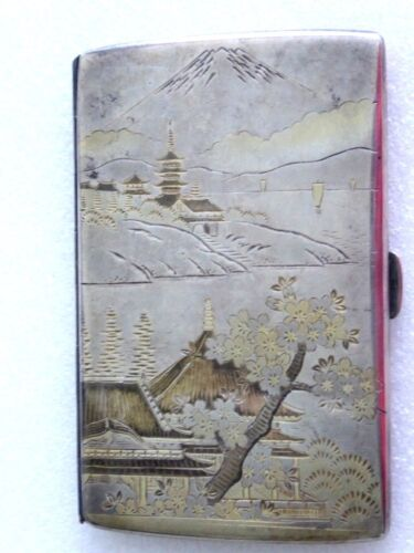Vintage Japanese Mt Fuji signed Sterling Silver cigarette Case Compact Wallet