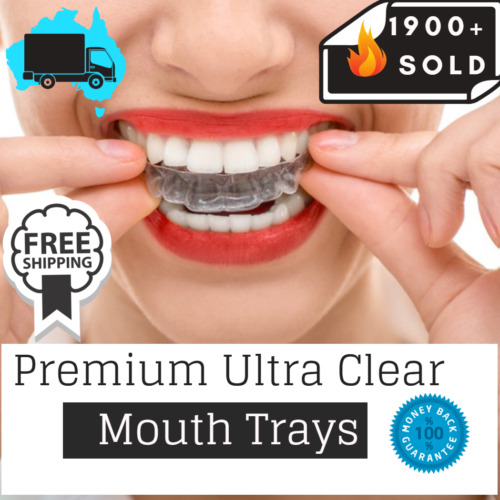 Teeth Whitening Kit Mouth Trays Custom Mould Thermo Plastic Guards <br/> Ultra Clear✔️Food Grade✔️ Sealed Trays✔️+Travel Pouch✔️