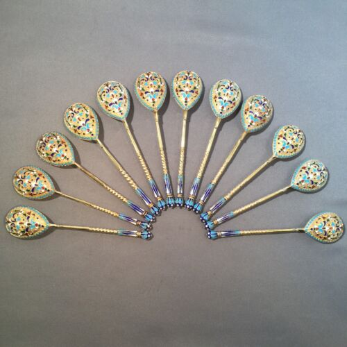 Set Of 12 Russian Imperial Enamel Silver 84 Spoons Hallmarked HЗ. 176 Gm.
