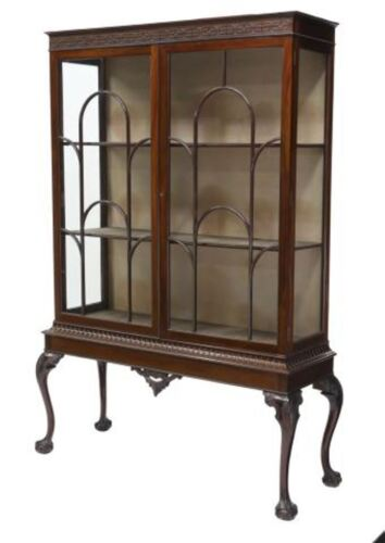 """Antique English Mahogany Chippendale Display China Cabinet H 72"""" x W 50"""" x D 18"""""""