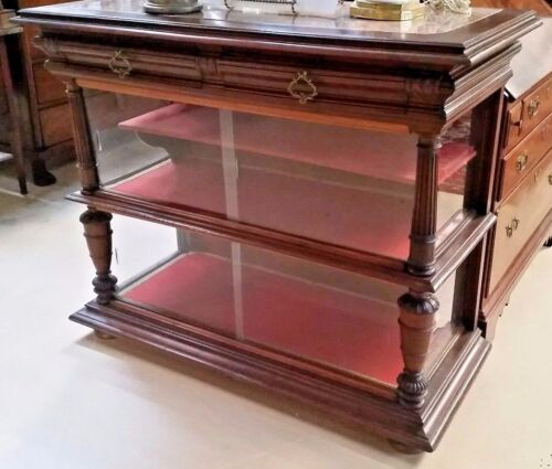 """Antique French Walnut Display Cabinet Bookcase Marble Top W49"""" x H41"""" Glass Side"""