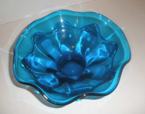 MINT Gorgeous Royal Blue Footed Bowl Epic Crimped Two Layers 1966-1970
