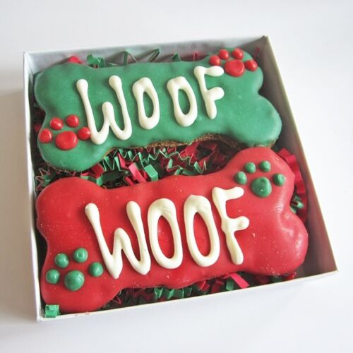 Woof Times Two Christmas Dog Treat Gift Box- FREE SHIPPING ASAP
