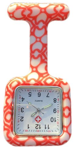Nurses Fashion Coloured Patterned Silicon Rubber Fob Watches SQUARE Orange Heart