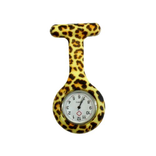 Nurses Fashion Coloured Patterned Silicon Rubber Fob Watches - Leopard