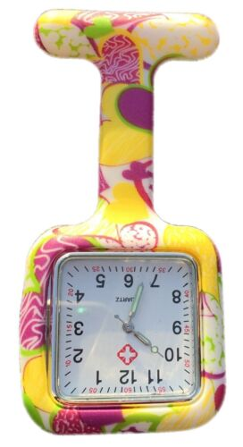 Silicone Nurses Brooch Tunic Fob Watch With FREE BATTERY (SQUARE Yellow + Pink)