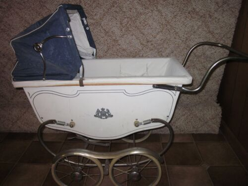 Vintage 1950's Siebert Doll Carriage, Stroller,Buggy White & Blue Baby Carriages
