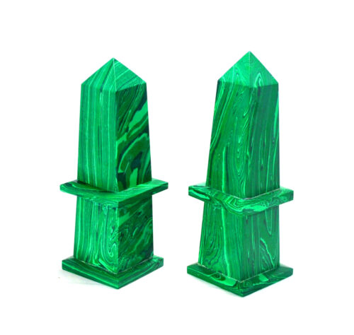 Green Malachite 165MM Healing Power Grand Tour Pietra Pedra Dura Obelisk Tower