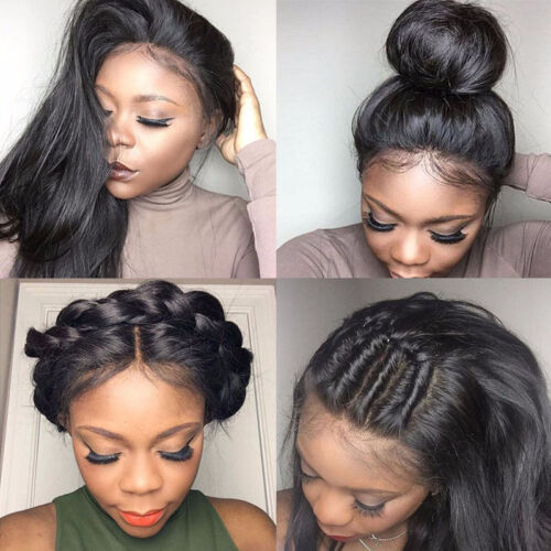 Women Black Lace Front Brazilian Hair Glueless Full Lace Wigs With Baby Straight