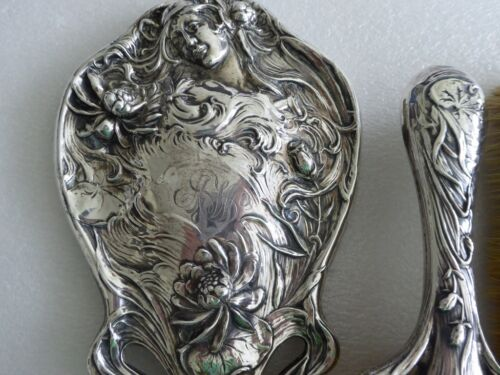 Antique Art Nouveau Mauser Sterling silver Woman Water Lily Hand Mirror 4pc set
