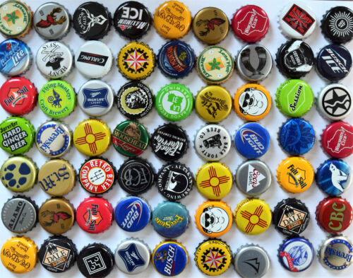 100 ((MIXED)) Beer Bottle Caps -No dents. Great mix / Assortment. Free Fast Ship