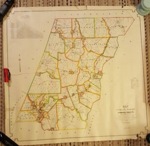 Large 1930 Colored MAP OF THE PUBLIC ROADS IN CAMBRIA COUNTY, PENNSYLVANIA