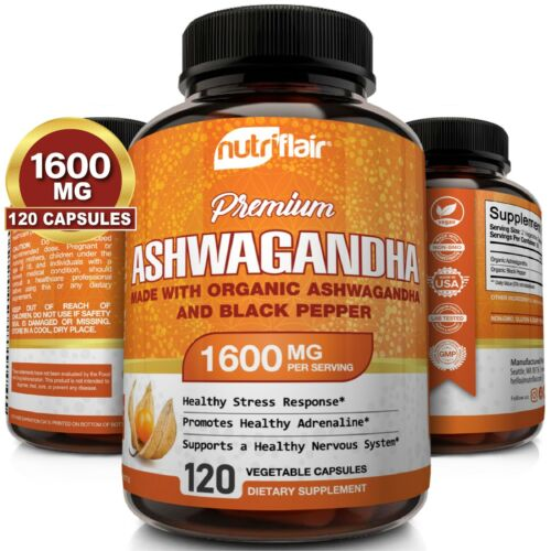 ☀ Organic Ashwagandha Capsules 1600mg 120 Capsules with Black Pepper Root Powder <br/> TRUSTED BRAND - 100% No-hassle Money-Back Guarantee!