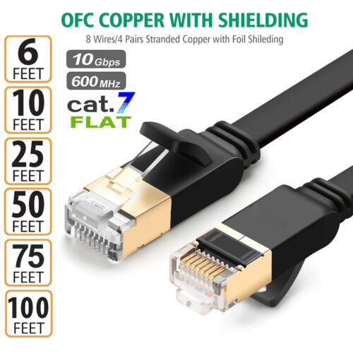 1-30M 28AWG Flat Strong Black Cat7 RJ45 Network LAN Patch Ethernet Cable Cord-AU