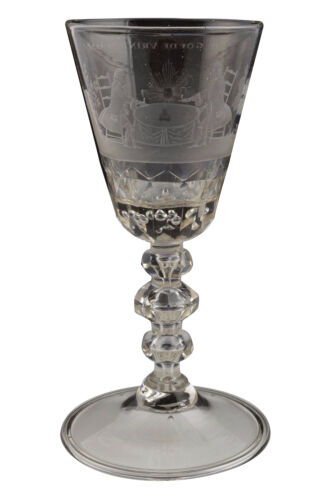 Fine Antique 18th Century Engraved Wine Stem Glass Goblet