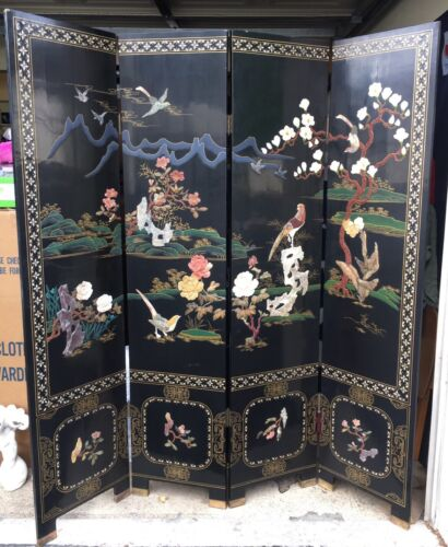 Antique Four-Panel Chinese Lacquer Coromandel Hardstone Screen