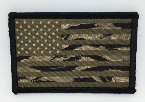 OD Tiger Stripe Camo USA Flag Morale Patch Tactical ARMY Hook Military SubduedArmy - 48824