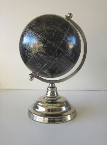 18cm Black World Map Globe Silver Chrome Stand Desktop Educational Geography