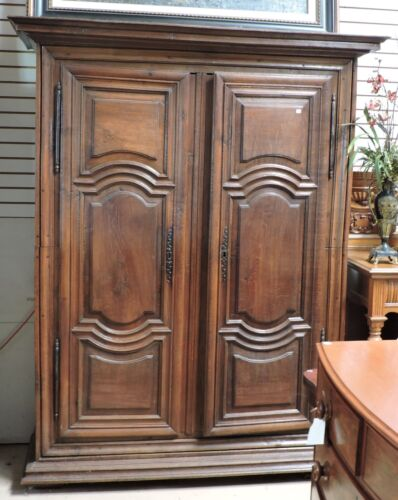 """Antique French Louis XIII Style Walnut Armoire Carved Solid Doors H 84"""" x W 65"""""""