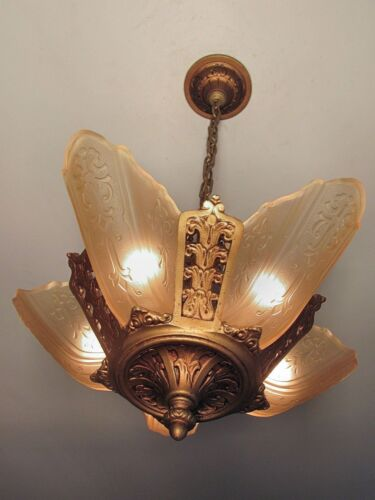 GORGEOUS! Antique MOE BRIDGES Slip Shade Light Fixture Great Restored Condition!