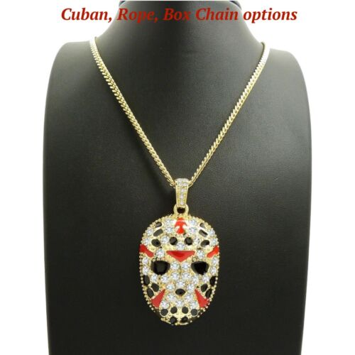 """ICED OUT SLAUGHTER GANG MASK PENDANT 24"""" BOX, CUBAN, ROPE CHAIN  NECKLACE"""