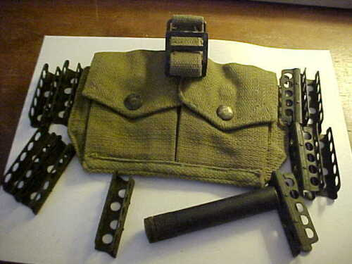 10 each British Lee Enfield SMLE 303 stripper clips with pouch & oilerOther Surplus Military Gear - 36077