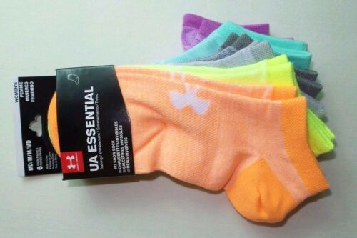 Under Armour Essential Training Women's No Show Socks 6 Pack Medium Neon Colors
