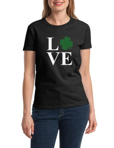 25a9661a Ladies LOVE St. Patricks Day Shirt Green Clover Funny T-Shirt Irish Shamrock