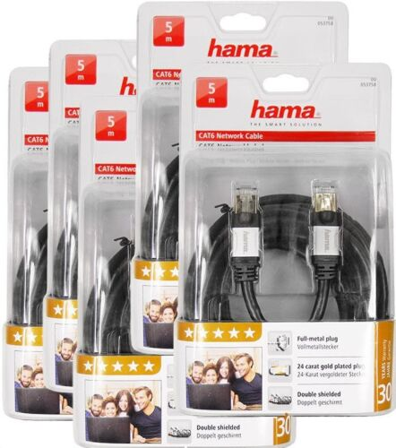 5 Piece - Hama CAT6 Lan Network DSL Cable Network Cable Stp 5m RJ45 1000Mbits