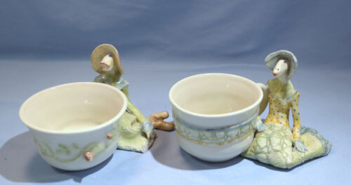 Laura Wilensky Pair of Painted Porcelain/Ceramic Figural Cups 20th Century
