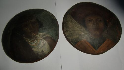 Pair of Copper South American Handpainted Marriage Plaques - 19th century