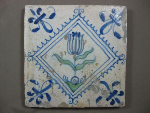 Antique Dutch polychrome Flower tile serrated rue 17th century- free shipping