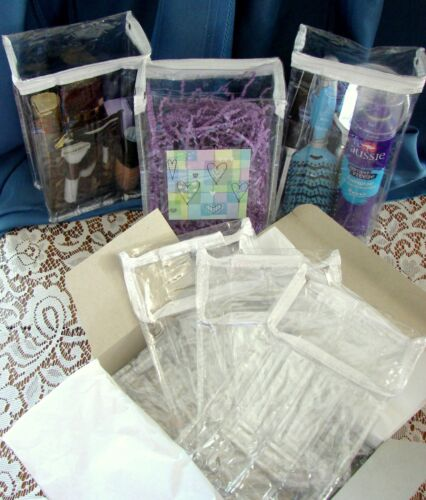 """6 CLEAR VINYL BAGS ZIPPER TOP 9.5""""x5.5""""x 3"""" STORAGE PARTY GIFT MAKE-UP ORGANIZER"""