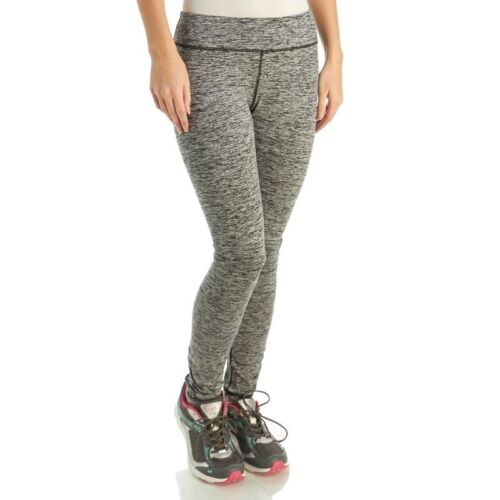 HEAD Womens Mid Rise Active Leggings XS Fitted Black Heather Grey Dri Motion New