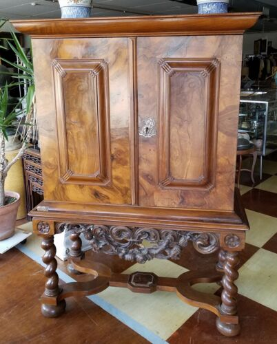 Antique 17th or 18th cent Dutch or Lowlands Burlwood Cabinet on Carved Stand
