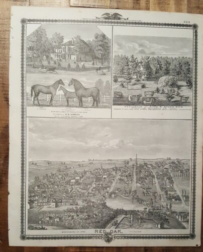 Antique Engraving - RED OAK, MONTGOMERY CO/OTHER VIEWS - Andreas Atlas Co. 1875