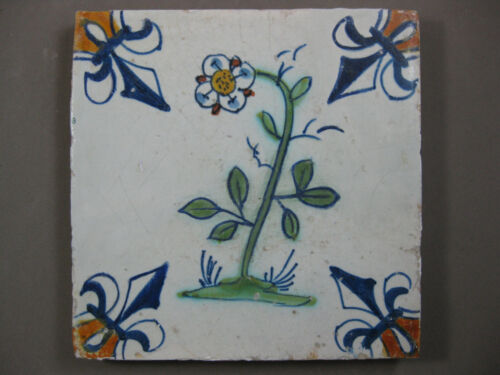 Antique Dutch polychrome flower tile 17th century - free shipping