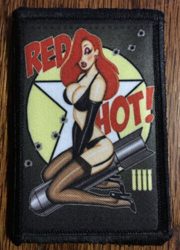 Red Hot Bomber Pin up Girl Nose Art Morale Patch Tactical Military Army BadgeArmy - 48824
