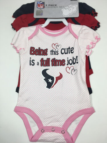 Houston Texans Girls Baby Clothes Creeper Set Infants & Toddlers 3Pack 3-18M NWT