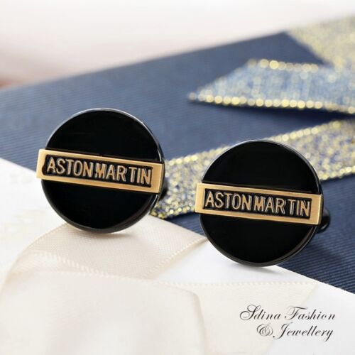18K Gold Filled Simulated Agate Round Shaped Charming Black  Men`s Cufflinks
