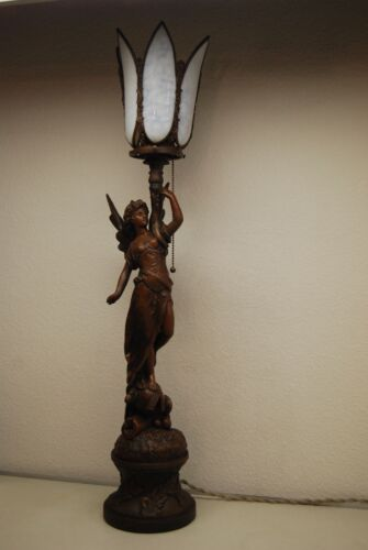 ANTIQUE ART NOUVEAU DECO FRENCH AUSTRIAN BRONZE GAS SLAG GLASS SHADE EROTIC LAMP
