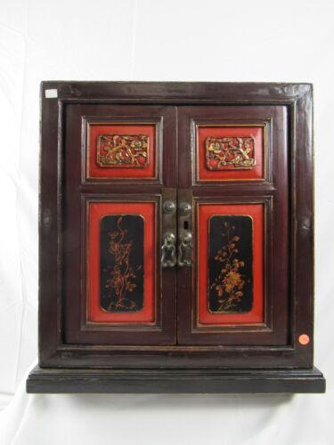 Chinese Antique Wooden Two Door Cabinet with Floral Carving Chest Table TVStand