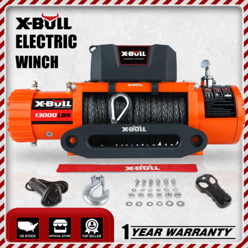X-BULL 13000lbs Electric Winch 12V Synthetic Rope 4WD Waterproof Truck Trailer <br/> Xbull Official Store. Come With A Winch Cover!