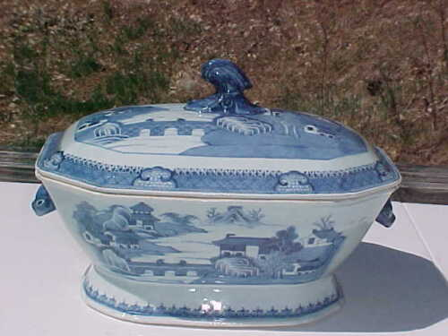 BIG 19th C Antique Chinese Export Canton Porcelain Boars Head Tureen Blue White